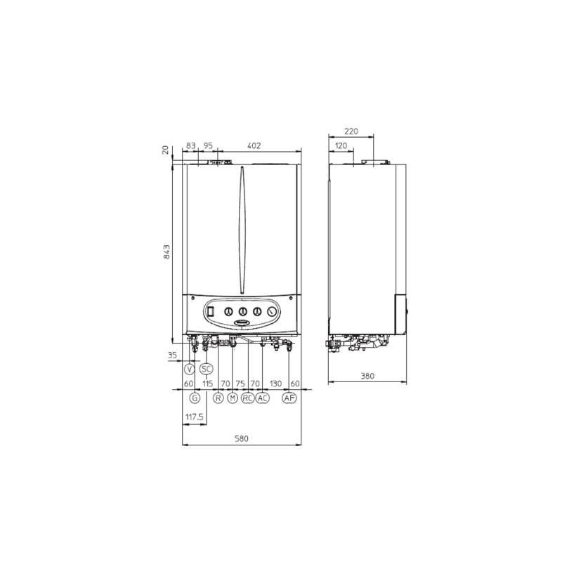 Poza Dimensiuni Centrala termica cu boiler incorporat Immergas Victrix Zeus 26 ErP - 24 kW