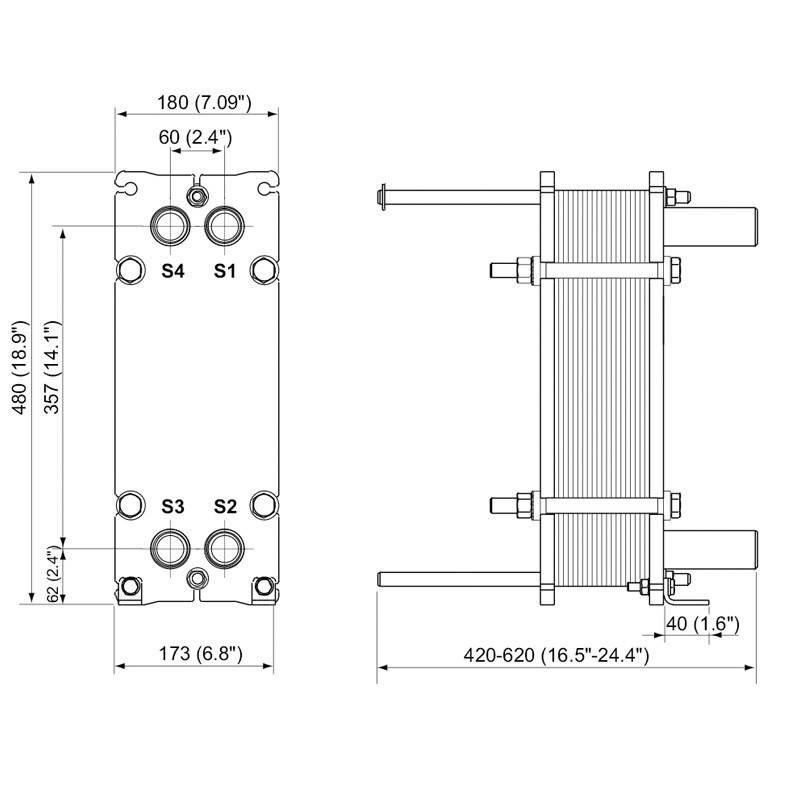 Poza Dimensiuni Schimbator de caldura in placi Alfa Laval M3-FG 21 PL - 160 kW