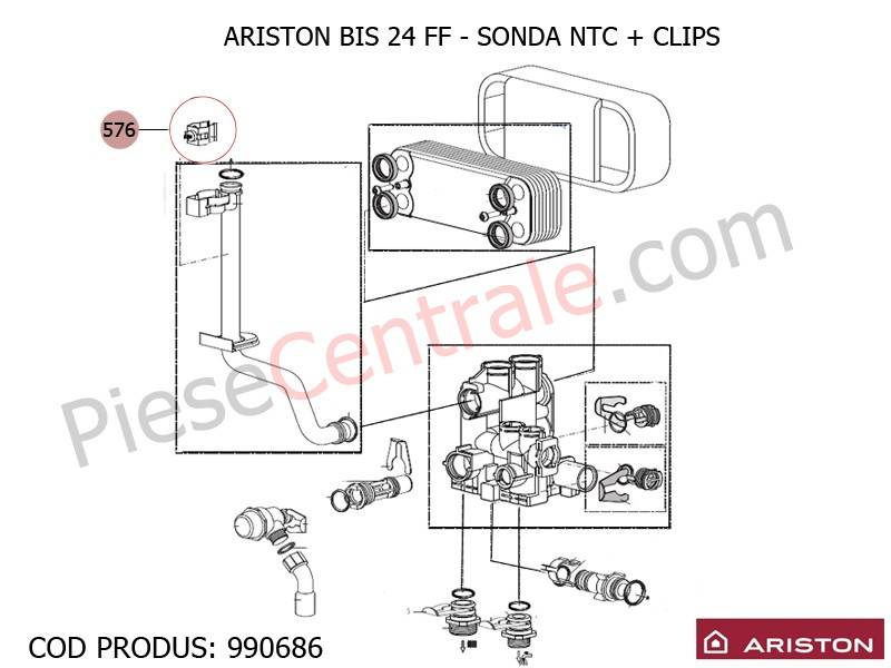 Poza Sonda NTC cu clips centrale termice Ariston BIS 24 FF, Egis, AS, UNO 24 mffi