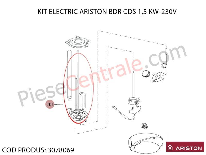Poza Kit rezistenta electrica boiler Ariston BDR CDS 1.5 kw - 230 V