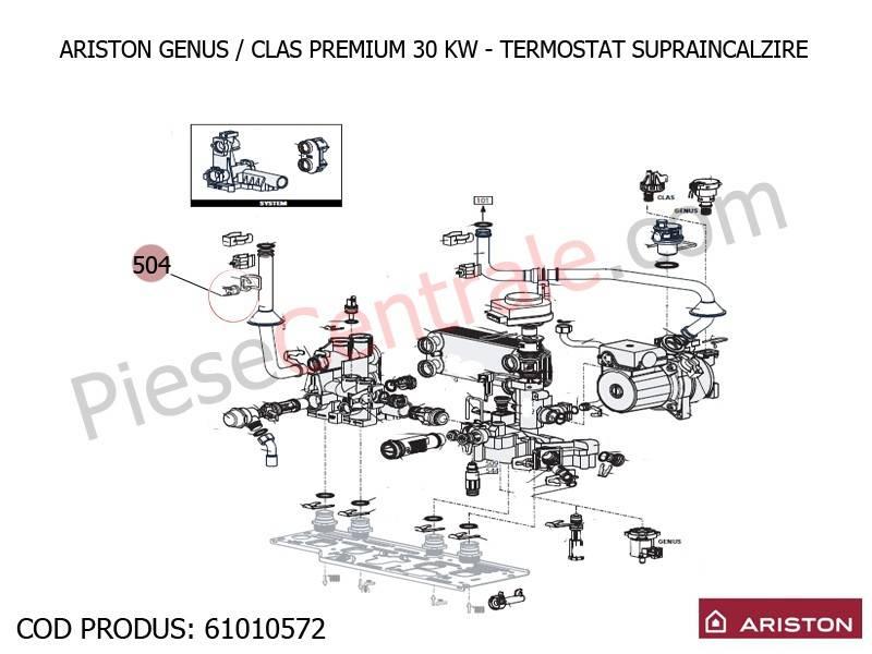 Poza Termostat supraincalzire 100 grdC centrale termice Ariston Genus/Clas Premium
