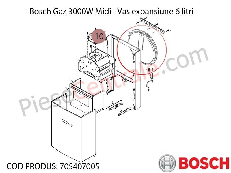 Poza Vas expansiune 6 litri centrala termica Bosch Gaz 3000W Midi