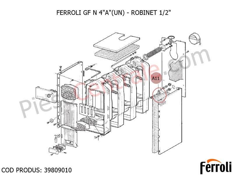 Poza Robinet 1/2 pentru centrala pe lemne Ferroli FG si GF N