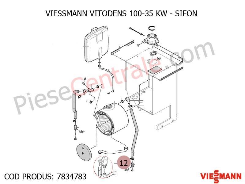 Poza Sifon condens centrala termica Viessmann Vitodens 100 35 WB1B