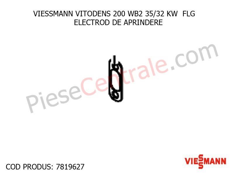 Poza Electrod aprindere centrala termica Viessmann Vitodens 200, Vitodens 333 WS3A