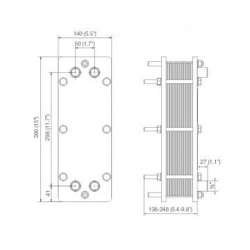 Poza Dimensiuni Schimbator de caldura in placi Alfa Laval T2-BFG 12 PL - 60 kW